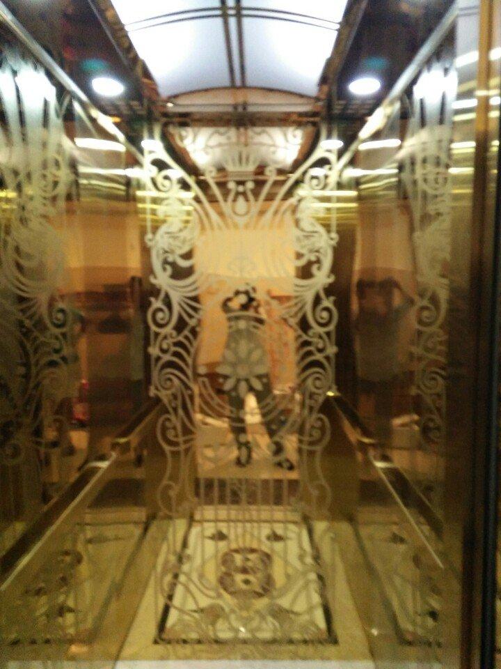 cabin thang máy inox vàng hoa văn